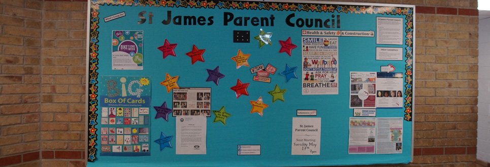 Teal coloured St. James Parent Council bulletin board  with stars and various notices and posters.