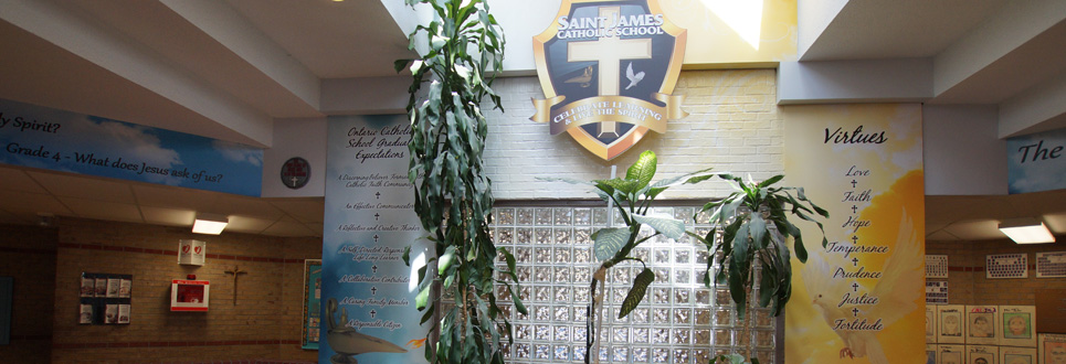 Front lobby of St. James Catholic School.